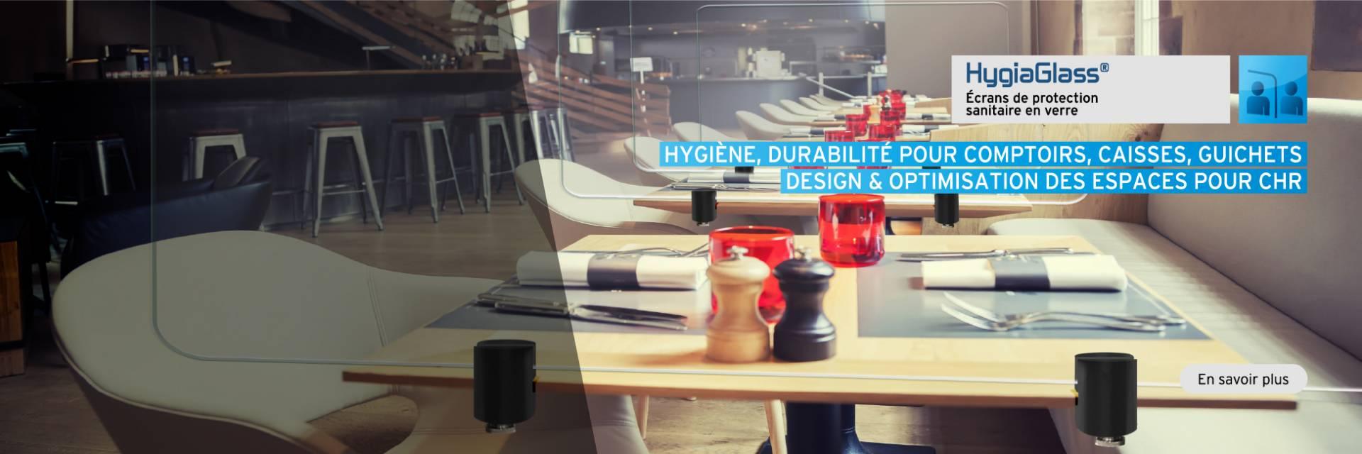 HygiaGlass, écran de protection sanitaire en verre